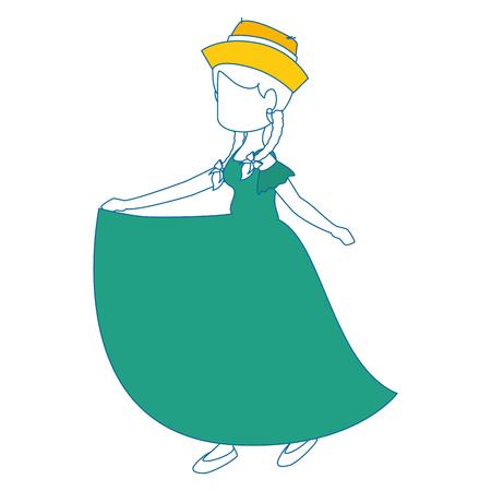 白地カラフルなデザインのベクトル図に代表的なドレスのアイコンを着ている女性。