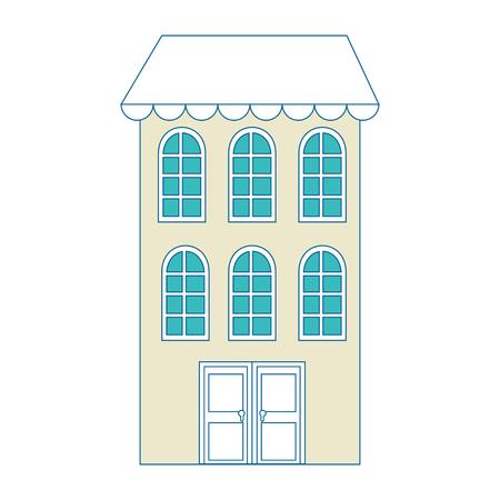 흰색 배경 벡터 일러스트 레이 션 위에 도시 건물 아이콘.