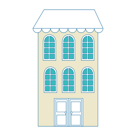 A city building icon over white background vector illustration. Illustration