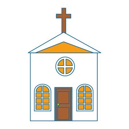 흰색 배경 벡터 일러스트 레이 션을 통해 교회 아이콘입니다.