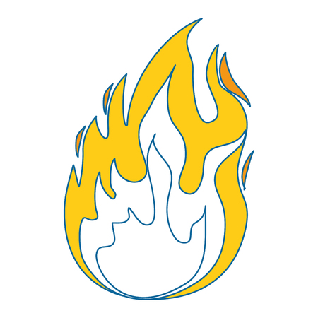 A fire flame icon over white background vector illustration.