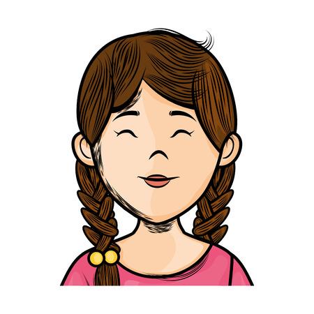 흰색 배경 위에 만화 여자 아이콘 화려한 디자인 벡터 일러스트 레이션