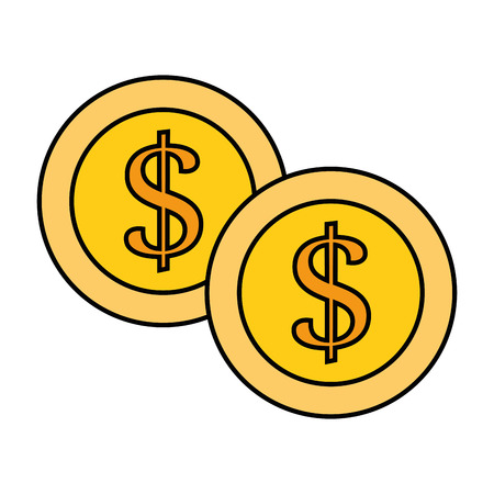 money coins icon over white background vector illustration Ilustração