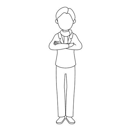 avatar man standing and wearing casual clothes icon over white background vector illustration