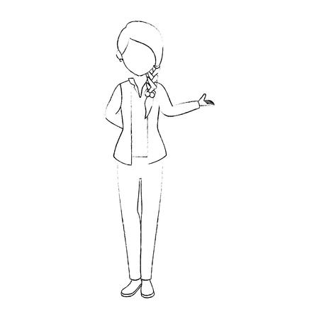 아바타 여자 서와 흰색 배경 벡터 일러스트 레이 션 위에 캐주얼 옷 아이콘을 입고
