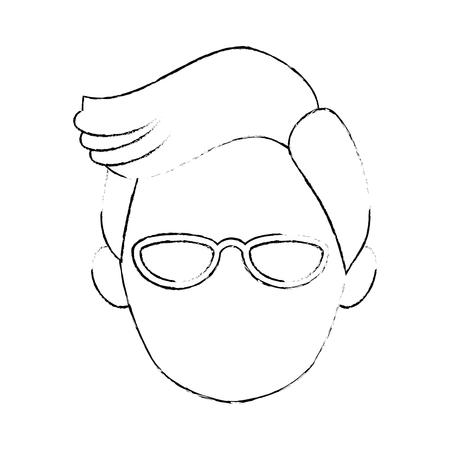 白い背景のベクトル図を男の顔アイコン