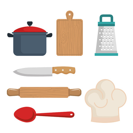 pin board: Colorful kitchenware set over white background vector illustration