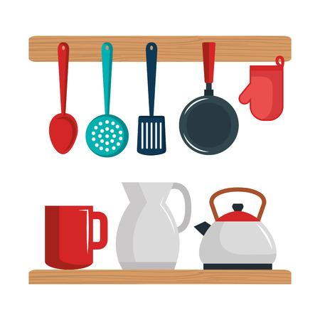 Colorful kitchenware set over white background vector illustration
