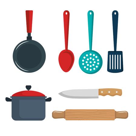Kleurrijke keukengerei ingesteld op witte achtergrond vector illustratie