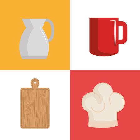 Kitchen utensils design over colorful background vector illustration Illusztráció