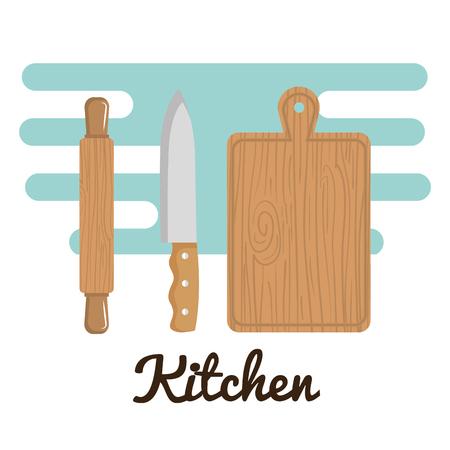 colorful wooden kitchen utensils over white background vector illustration