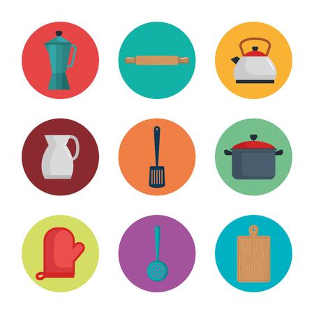 Colorful kitchen utensils icon set over white background Illustration