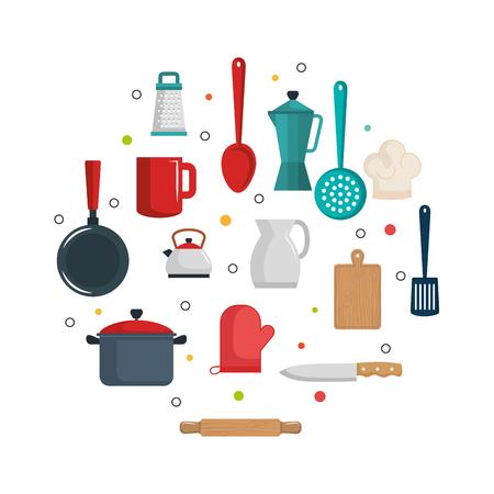 Kleurrijke keukengereipunten over witte vectorillustratie als achtergrond Vector Illustratie