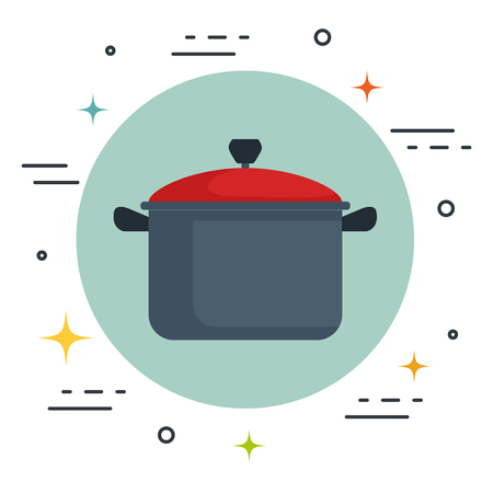 prepare: Cooking pot icon over white background vector illustration