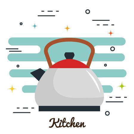 Theepot en keukenteken over witte vectorillustratie als achtergrond Stock Illustratie