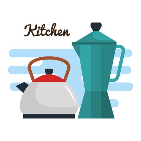 kleurrijke thee en koffiepotten over witte vectorillustratie als achtergrond