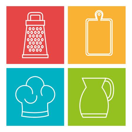 Hand drawn kitchen utensils over colorful background vector illustration Illustration
