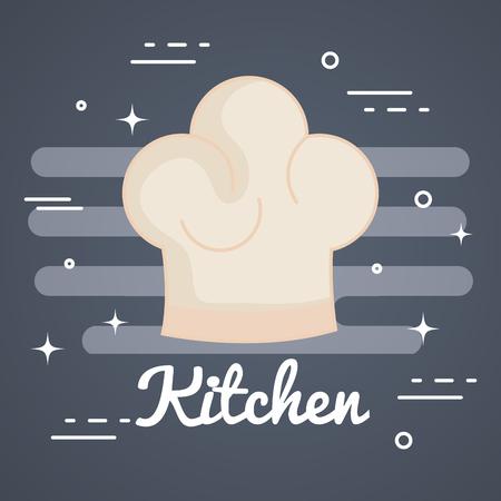 회색 배경 벡터 일러스트 위에 요리사 모자