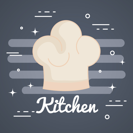 Chef hat over gray background vector illustration