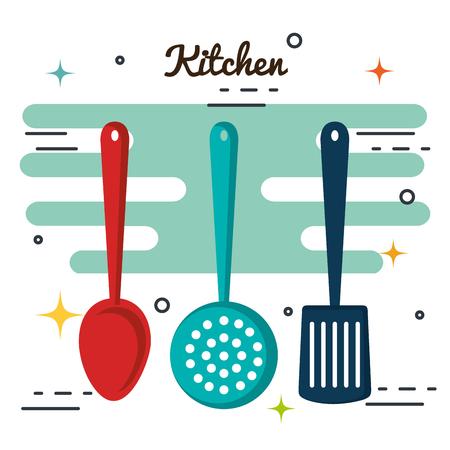 slotted: Kitchen utensils over white background vector illustration