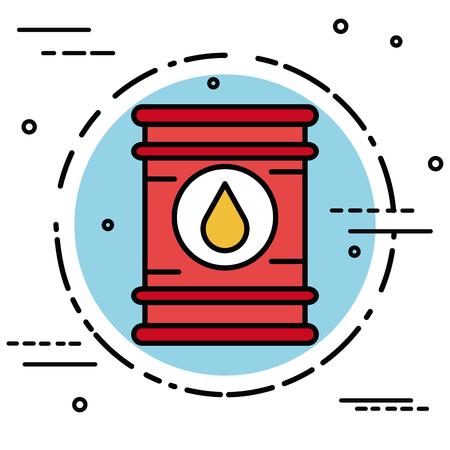 Olievatsticker over witte vectorillustratie als achtergrond