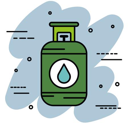Cilindro de gas sobre ilustración vectorial de fondo azul y blanco Foto de archivo - 82575516