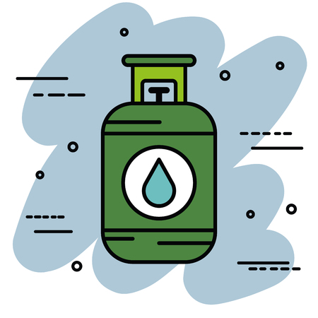 Gas cylinder over blue and white background vector illustration Çizim