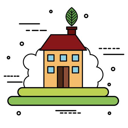 Colorful eco house over white background vector illustration Illustration