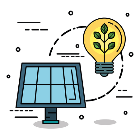 Solar panel and light bulb with crop over white background Illustration