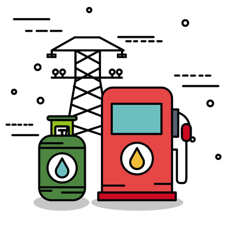 Electric tower gas pump and cylinder over white background Illustration