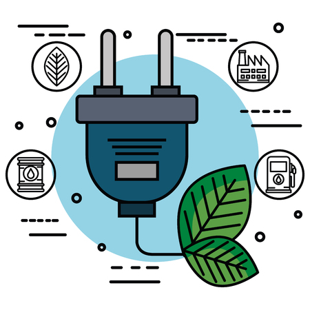 electric plug with leaves and energy related objects over white background