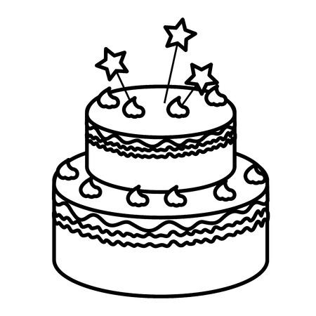 delicious cake with stars celebration icon vector illustration design Çizim