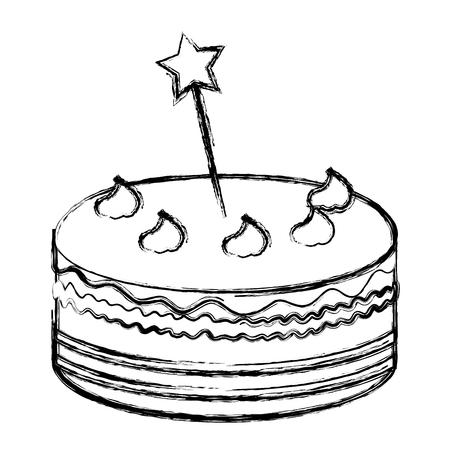 delicious cake with stars celebration icon vector illustration design Ilustração
