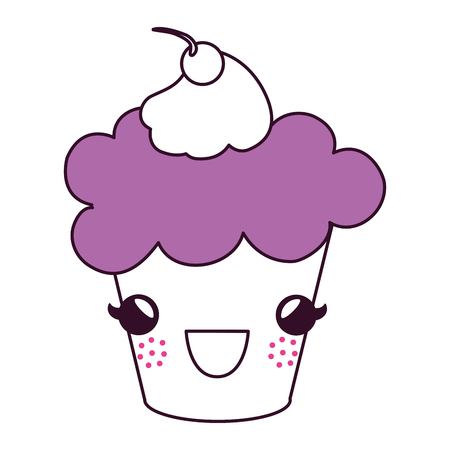 delicious cupcake with cherry kawaii character vector illustration design