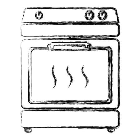 부엌 오븐 절연 아이콘 벡터 일러스트 디자인