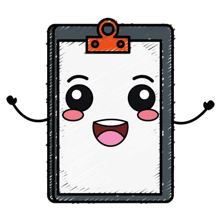 checklist: clipboard paper kawaii character vector illustration design