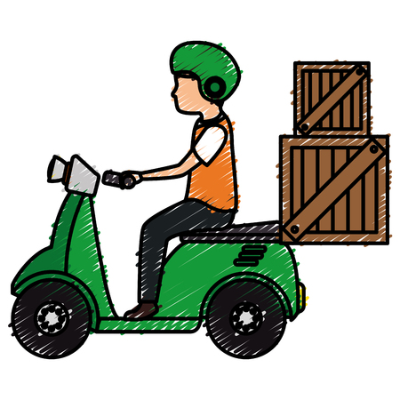 courier in motorcycle delivery service vector illustration design Illustration