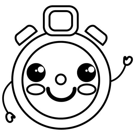 cronometro: chronometer timer kawaii character vector illustration design