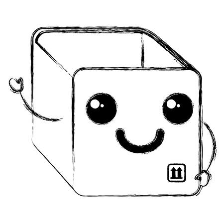box carton delivery service kawaii character vector illustration design Illustration