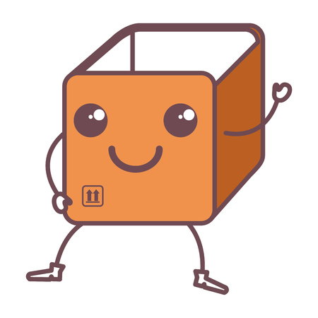 box carton delivery service kawaii character vector illustration design Illustration