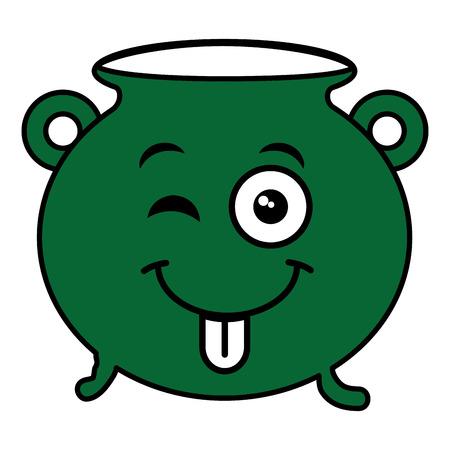 Cauldron of saint patrick  character vector illustration design Illustration