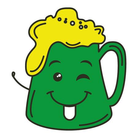 beer green saint patrick icon  character vector illustration design