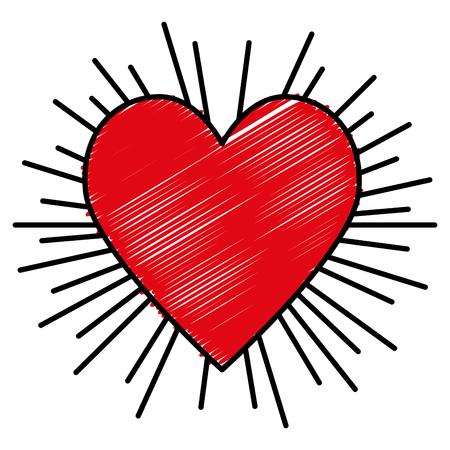 heart love sun burst vector illustration design