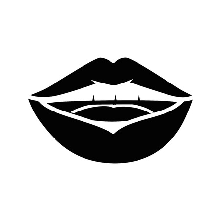 Lips pop art cartoon over white background icon