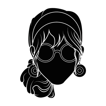 Retro woman cartoon over white background icon