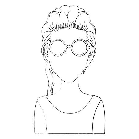 Retro woman cartoon over white background icon
