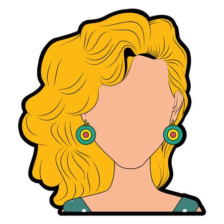 blondie: Retro woman cartoon over white background icon