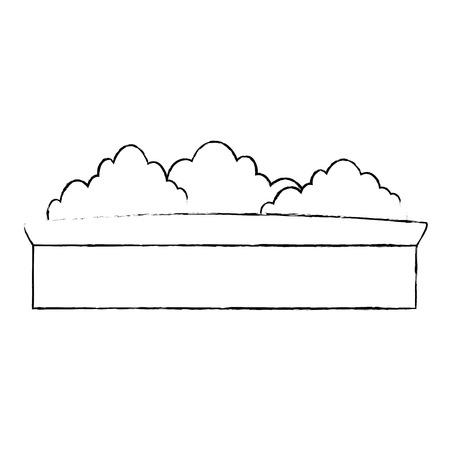 鍋に白い背景のグラフィックの上の茂み