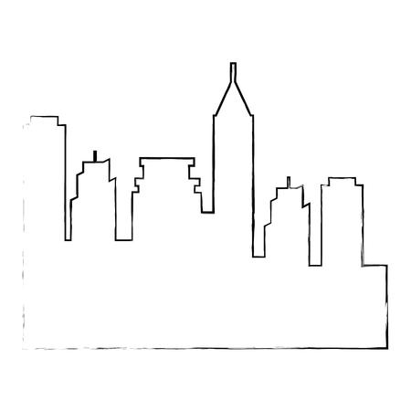 city buildings silhouette icon vector illustration graphic design Иллюстрация