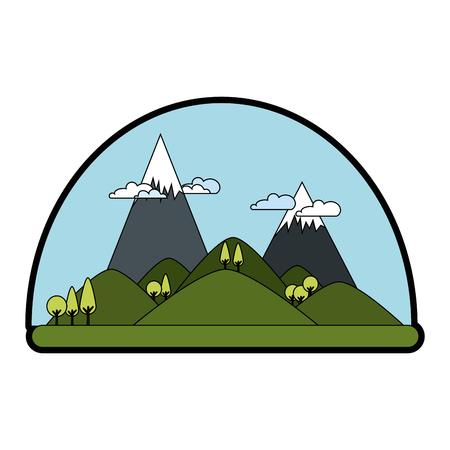 mountains landscape image over white background graphic Illustration